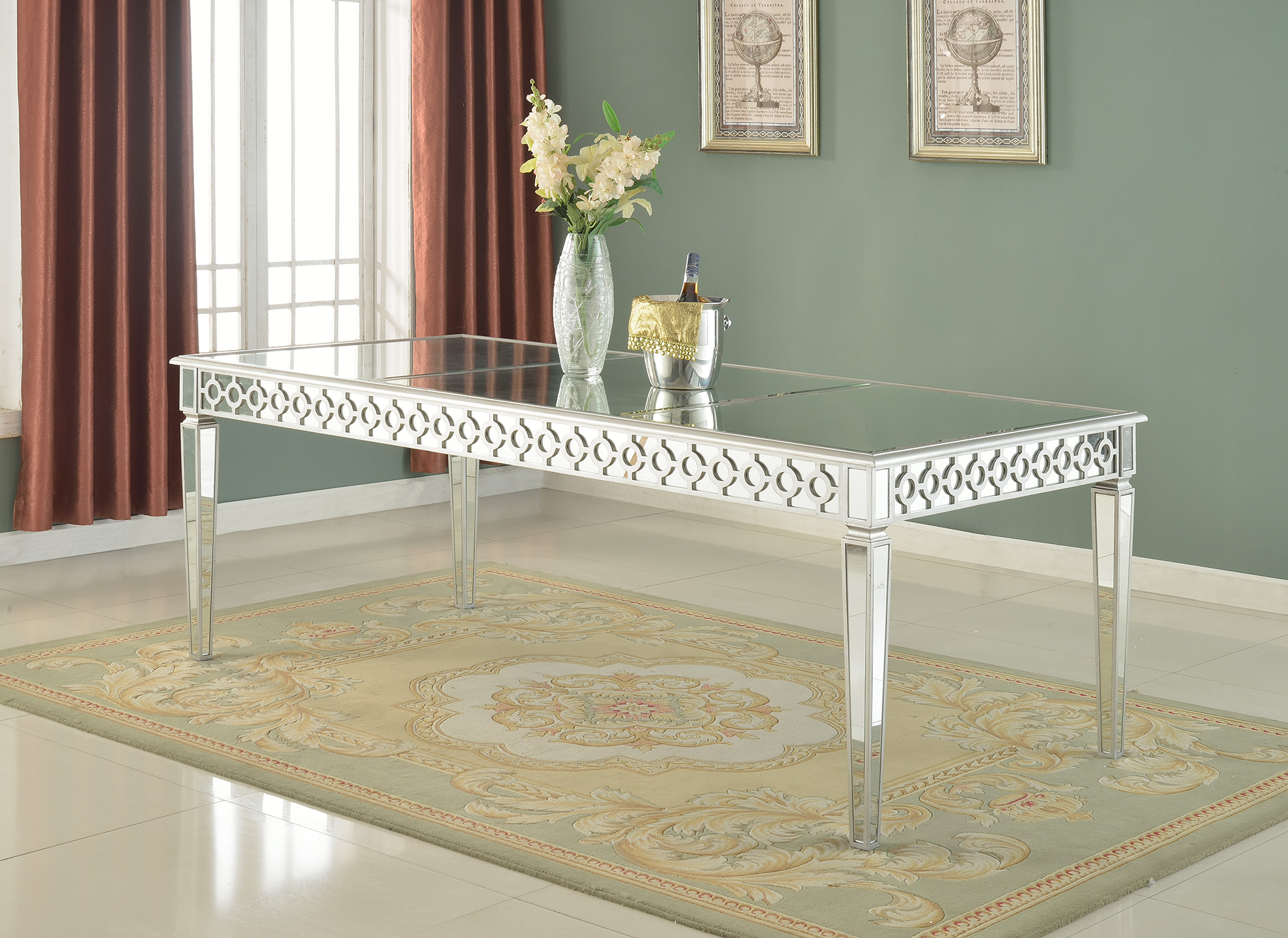 sophie mirrored dining table rh hello furniture com mirrored round kitchen table