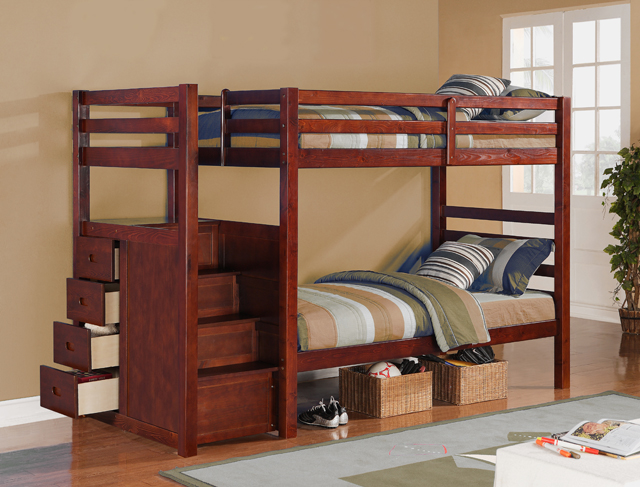 865 Espresso Twin Over Twin Bunk Bed With Stairs And Drawers