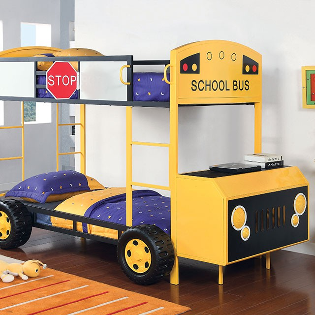 ACME Furniture Cathie School Bus Twin over Twin Bunk Bed ... |School Bus Bed